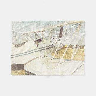 Alte antike Flugzeug-Doppeldecker-Fleece-Decke Fleecedecke