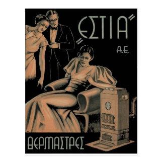 Alte Anzeige-Griechenland-Ofen-Heizung Postkarte