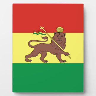 Alte äthiopische Flagge mit Löwe von Judah Fotoplatte