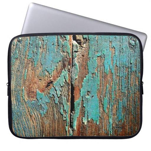 Alte blaue Farbe auf Holz Laptop Computer Schutzhülle