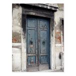 alte blaue Tür Postkarten