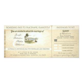 alte Boardingdurchlauf-Strandhochzeit lädt mit 10,2 X 23,5 Cm Einladungskarte