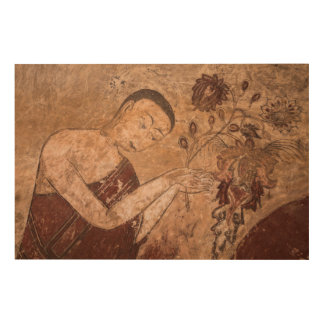 Alte buddhistische Malerei Holzleinwand