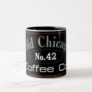 Alte Chicago-Kaffee-Tasse Zweifarbige Tasse