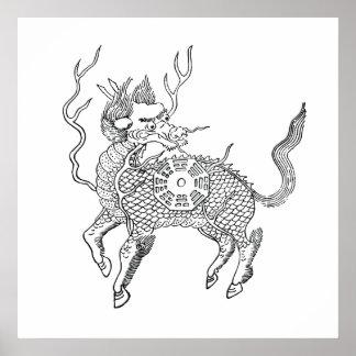 Alte chinesische günstige Drachepferdlunge MA Poster