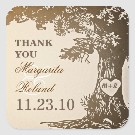 alte Eiche danken Ihnen Hochzeitsaufkleber Quadrataufkleber