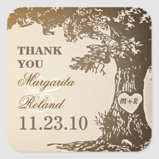 alte Eiche danken Ihnen Hochzeitsaufkleber Quadratischer Aufkleber