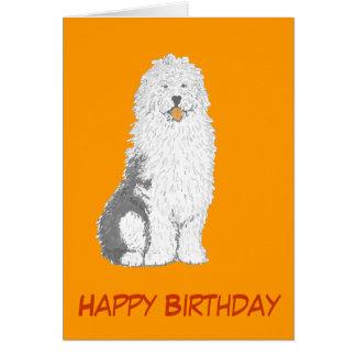 Alte englische Schäferhund-Geburtstagskarten, Karte