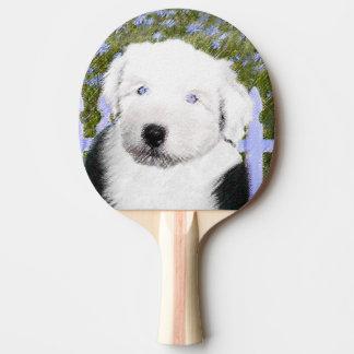 Alte englische Schäferhund-Welpen-Malerei - Tischtennis Schläger