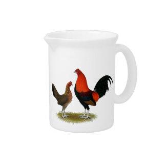 Alte englische Spiel-Zwerghühner:  BB Rot-Paare Getränke Pitcher