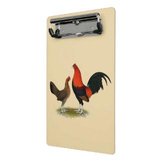 Alte englische Spiel-Zwerghühner:  BB Rot-Paare Mini Klemmbrett
