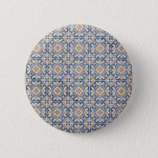alte Fliese Portugals blauer Dekoration Runder Button 5,7 Cm
