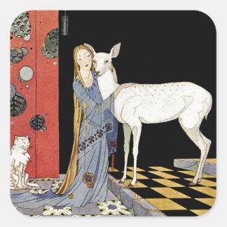 Alte französische Märchen: Bonne-Biche Quadrataufkleber