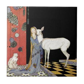 Alte französische Märchen: Bonne-Biche Keramikkacheln