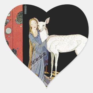 Alte französische Märchen: Bonne-Biche Herz-Aufkleber