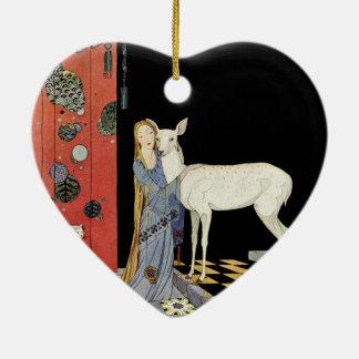 Alte französische Märchen: Bonne-Biche Keramik Herz-Ornament