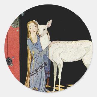 Alte französische Märchen: Bonne-Biche Runder Aufkleber
