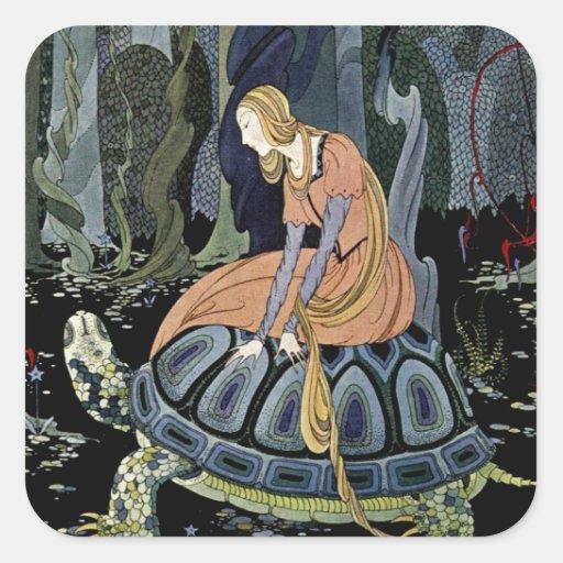 Alte französische Märchen: Durch den Wald Quadratsticker