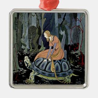 Alte französische Märchen: Durch den Wald Quadratisches Silberfarbenes Ornament
