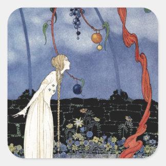 Alte französische Märchen: Ein Baum der Quadratischer Aufkleber