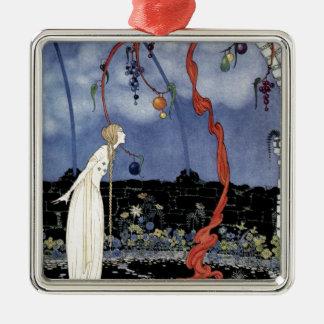 Alte französische Märchen: Ein Baum der Quadratisches Silberfarbenes Ornament