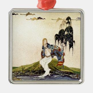 Alte französische Märchen: In meinem Gebiet Quadratisches Silberfarbenes Ornament