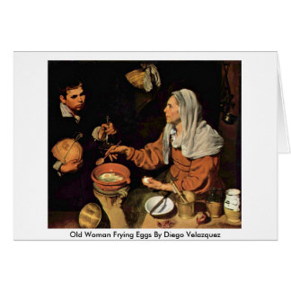 Alte Frau, die Eier durch Diego Velazquez brät Karte