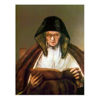 Alte Frau, lesend durch Rembrandt Postkarte