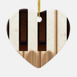 Alte getragene Klavier-Schlüssel Keramik Herz-Ornament