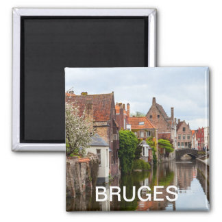 Alte Häuser in Brügge, Belgien Quadratischer Magnet