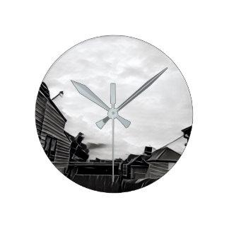 """""""Alte Himmel"""" schwarz und graue gebrochene Runde Wanduhr"""