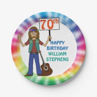 Alte Hippie-Hippy Krawatten-70. Geburtstags-Party Pappteller