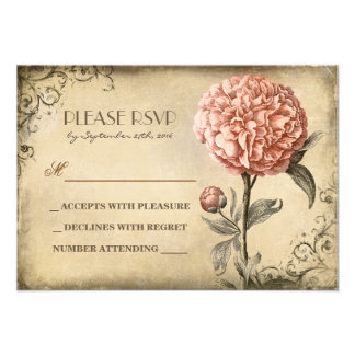 alte Hochzeit UAWG-Karte mit rosa