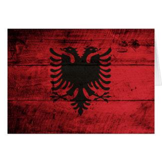 Alte hölzerne Albanien-Flagge Karten