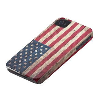 Alte hölzerne amerikanische Flagge iPhone 4 Case-Mate Hüllen