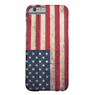 Alte hölzerne amerikanische Flagge Barely There iPhone 6 Hülle
