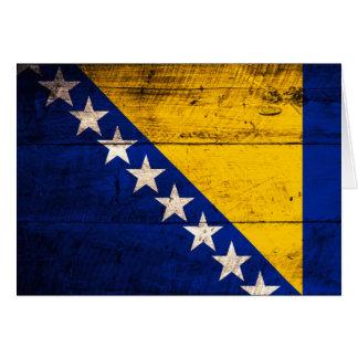 Alte hölzerne Bosnien-Flagge Mitteilungskarte