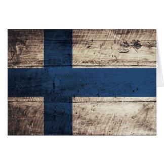 Alte hölzerne Finnland-Flagge Grußkarte