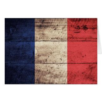 Alte hölzerne Frankreich-Flagge Mitteilungskarte