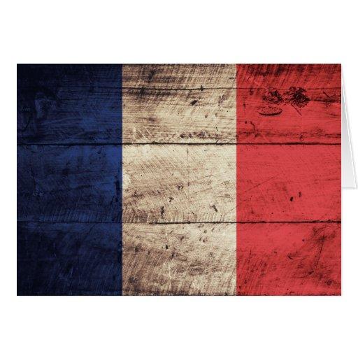 Alte hölzerne Frankreich-Flagge Karten