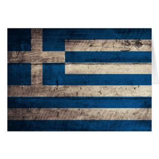 Alte hölzerne Griechenland-Flagge Grußkarte