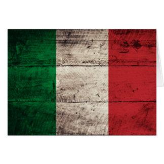 Alte hölzerne Italien-Flagge Mitteilungskarte