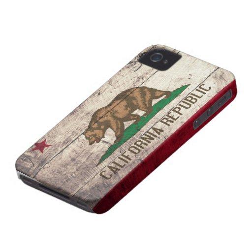 Alte hölzerne Kalifornien-Flagge iPhone 4 Hüllen