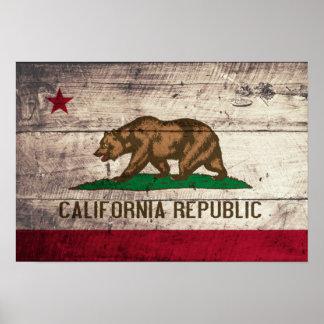 Alte hölzerne Kalifornien-Flagge Poster