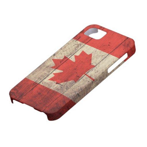 Alte hölzerne kanadische Flagge iPhone 5 Schutzhüllen