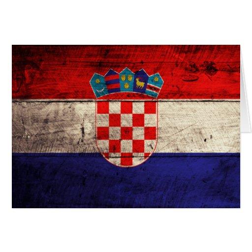 Alte hölzerne Kroatien-Flagge Karte