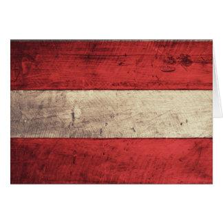 Alte hölzerne Österreich-Flagge Mitteilungskarte