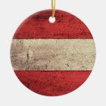 Alte hölzerne Österreich-Flagge Weinachtsornamente