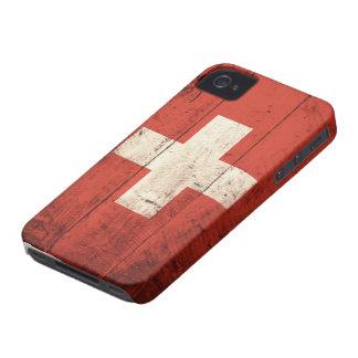 Alte hölzerne Schweizer Flagge iPhone 4 Hülle