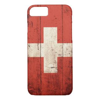 Alte hölzerne Schweizer Flagge iPhone 7 Hülle